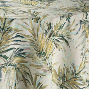 Tropical leaf patterned white fabric