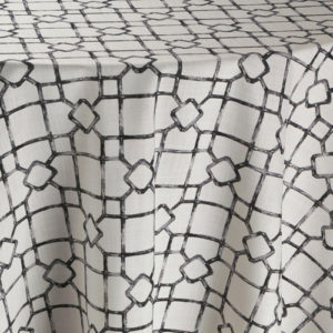 White fabric with black geometric pattern