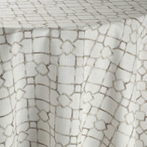 White fabric with beige geometric pattern